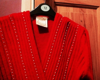 Vintage 80s Red Faux Wrap Jumper Sweater Top