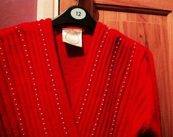 Sale Vintage 80s Red Faux Wrap Jumper Sweater Top