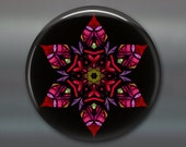 mandala art refrigerator magnet, kaleidoscope art magnet, pink and purple kitchen decor, large magnet, MA-MAND-34