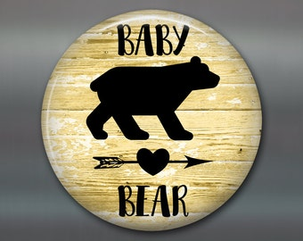 """3.5""""rustic baby bear sign  refrigerator magnet - rustic kitchen decor sign - rustic wood signs for the kitchen - rustic signs - MA-SIGN-25BA"""