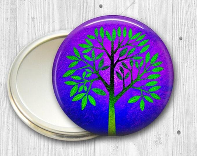 colorful tree pocket mirror, hand mirror, mirror for purse, fashion accessory,  bridesmaid gift  MIR-1911