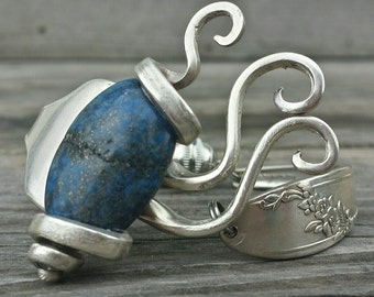 Antique Fork Bracelet Made With an Genuine Lapis