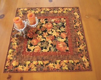 Table Topper, Pumpkins and Leaves, Quilted Table Topper, Handmade Table Topper, Tabletop Decor, Table Mat, Table Linen, Quilted Tabletop