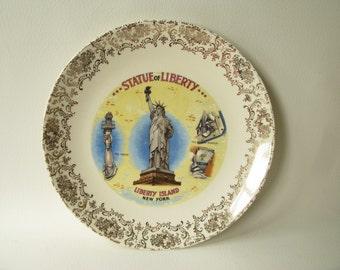 Vintage Souvenir Plate, Statue of Liberty