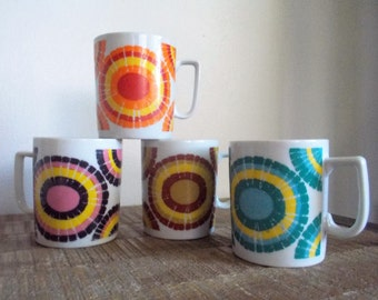 Set of Four Mod Colorful Graphic 1960s Porcelain Mugs