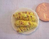 Dollhouse Miniature Fimo grilled corn on porcelain plate IGMA FELLOW Janet Uyetake