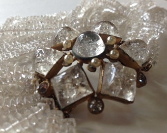 Crackle Glass Headlight Cabochon Clasp Multi Strand Necklace – 1940s Torsade