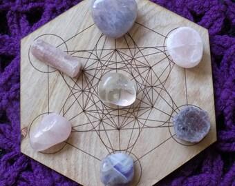 Peaceful Beauty Crystal Bundle Seer Stone Chevron Amethyst Heart Seer Stone Pink Tourmaline Raw Ruby  tumbled Crystals Stones Grid
