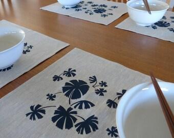 Linen Placemats Screen Printed Linen Place Mats Hand Printed Linen Table Mats Navy&Natural Australian Fan Palm (set of 4)