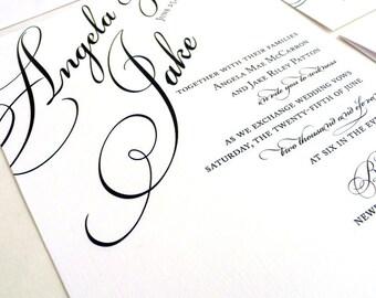 Elegant Wedding Invitation / Black Tie Wedding Invite / Simple Wedding Invite / Black and White Invitation / Once Charmed Invitation Sample