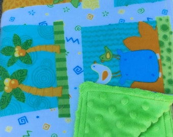 "Baby Blanket Zoo Animals Flannel With Bright Green Minky Back 29"" x 35"""