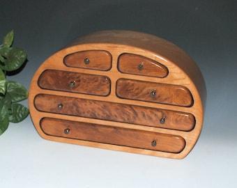 Handmade Solid Cherry Large Wood Jewelry Box with Redwood Burl by BurlWoodBox - Large Wood Jewelry Box - Wooden Jewelry Box -Jewelry Storage
