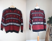 Ugly Christmas Sweater Party Fairisle Vintage Holiday Ski Black Medium