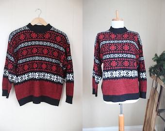Ugly Christmas Sweater Party Fairisle Vintage Holiday Ski Black Medium
