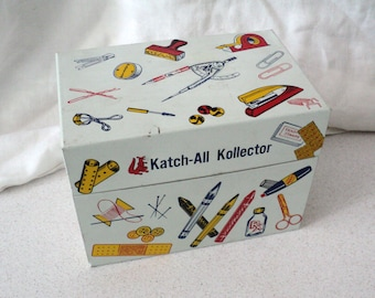 Vintage Syndicate Mfg. Co. Metal Katch-All Kollector Box Decorated with Retro Items 1960s 1970s