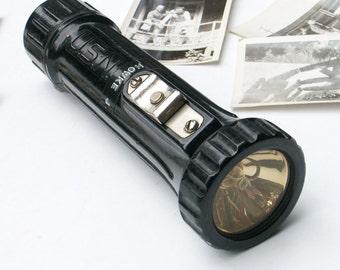 Vintage USN Fulton Flashlight Explosion Proof Navy Permissible Electric Light