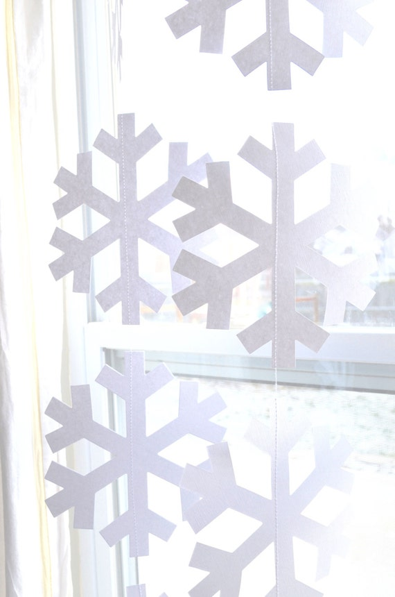 """Snowflake Garland - extra large """"Frozen"""" and """"Nordic"""" snowflake banners in white or glitter white"""