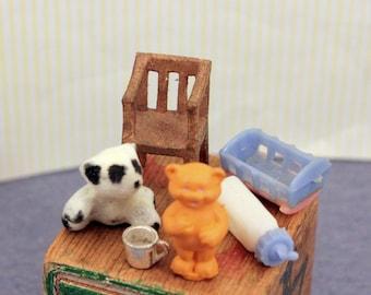 Vintage Dollhouse Miniature Nursery Toys Teddy Bears Tiny Chair Tiny Cradle Baby Bottle