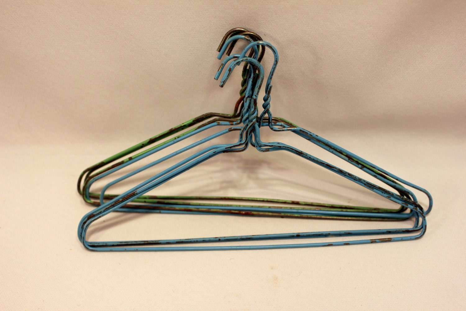 8 Toy Wire Metal Doll Clothes Hangers Vintage 1950s Blue And