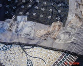 Vintage Sheer Silk Black and Gray Coffee Theme Scarf - Lovely