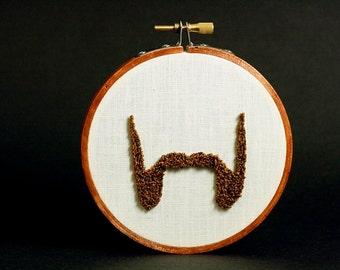 Mutton Chop Beard Punch Needle Embroidery Hoop Art. The Travis. Beard Silhouette. Beards of Brooklyn. 4 Inch Hoop.