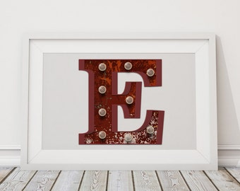 Printable Marquee Letters E to H - E, F, G, H Initials - Instant Download - High-Res Vector Art Typography - Rusty Alphabet, Marquee Lights