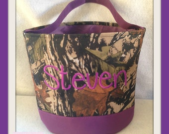 Purple Camo Halloween Buckets Personalized Trick Or Treat Basket , Gardening  Tote, Beach Bag,