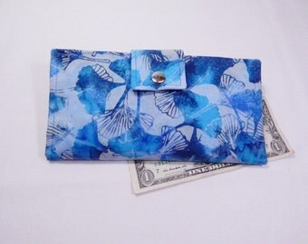 Batik Wallet, Blue Batik Ginkgo Leaf, Handmade Wallet, Fabric Wallet, Made in USA