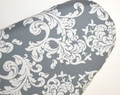 Standard Ironing Board Cover - Grey and White Damask - Ironing Cover - Laundry Room - Gray Cover - Cleaning - Acanthus Scroll Design fabric