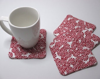 Red Peppermint Candy Coaster - Square Quilted Fabric Coasters – Set of 4 Mug Rugs – Coffee or Tea Coaster - Hostess Gift - Stocking Stuffer