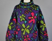 Vintage 90s Women's Purple Green Pink Mod Bright Floral Mohair Blend Turtleneck Pullover Fall Winter Sweater