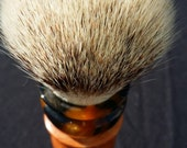 Beautiful, mixed medial, Briar Burl and Black and Gold acrylic 26MM Super Synthetic badger shaving brush, #BB6