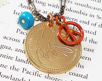 Guatemala, Authentic Coin Necklace -- Peace Dove -- Paz - Peace on Earth - World Treasures