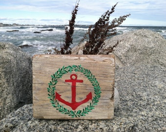 Hand Painted Anchor Reclaimed Driftwood Block Sign, Wedding Decor, Coastal Cottage, Nautical beach Cottage Home Decor