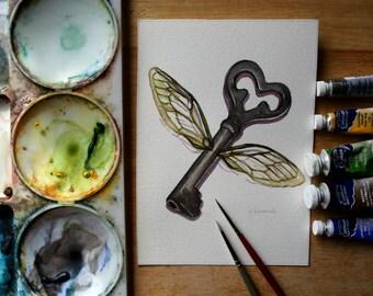 Flying Key - Original Watercolor