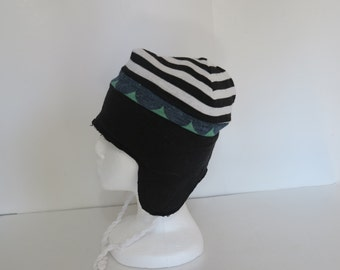 Boys winter hat snowboarding with ties fleece lined hats cold weather accessories medium ear flaps