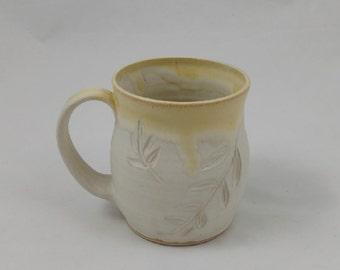 White Locust Mug Pottery Handmade by Daisy Friesen