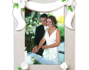 Newly Married Couple's First Personalized Christmas Ornament Picture Frame -Wedding Favor Bridal, 25th Anniversary Gift