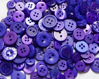 50 Purple Buttons , Deep Purple, Royal Purple Assorted sizes,Sewing, Grab Bag, Crafting, Jewelry, Collect (819 )