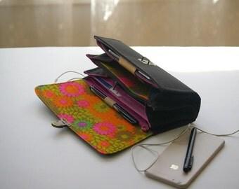 Black phone wallet clutch deluxe - wallet purse canvas handmade canvas bag womens wallet handmade purse modern wallet usa made READY TO SHIP