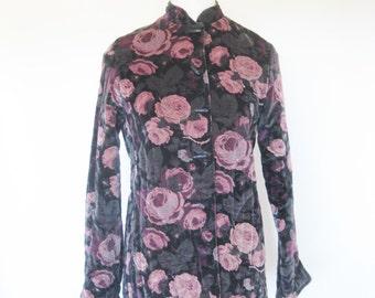1980s Velvet Quilted Jacket Toggles Winter Coat Black Pink Floral High Neck Rose Print 80s Indie Boho Chic Winter Princess