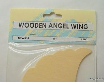 "Wooden Angel Wings, 9"" Unfinished Wood Angel Wings, Ruffled Cut Out Angel Wings"