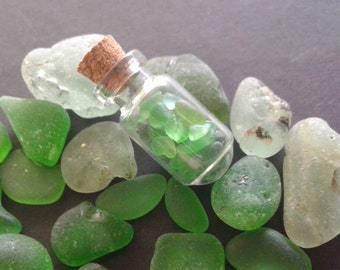 Bonfire seaglass and various green seaglass and Tiny seaglass in tiny glass jars #20seaglass