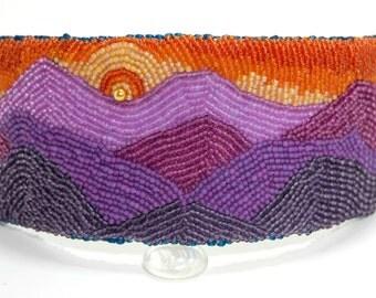 Purple and Orange Bead Embroidered Cuff Bracelet