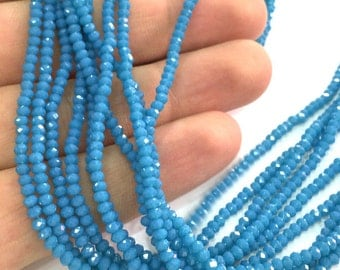 2,5x2 mm Blue  Rondelle Faceted Glass Beads ,1 Strand   approx 40 cm ( approx 15 inch-  approx 190 Pcs)   G4044