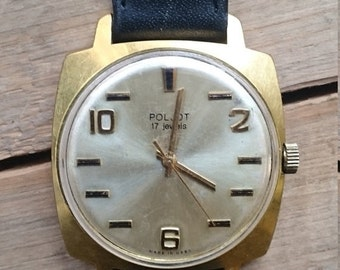 25% OFF ON SALE Mens watch Poljot, mens wrist watch from Russia Soviet Union, Vintage retro style, gold covered