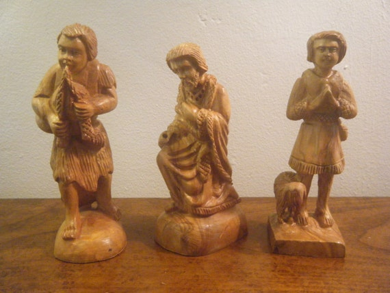 Wooden Hand Carved Nativity Sets ~ Hand carved wood nativity set of figurines nicely