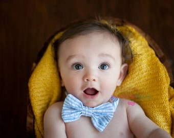 Seersucker baby or toddler or child bow tie with velcro band - Choose your color and size