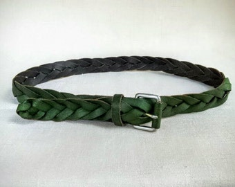 Vintage 1980s Braided Leather Belt, Avocado Green Women's Vintage Belt, 38 Inch Long Belt, Adjustable Sizes Small, Medium