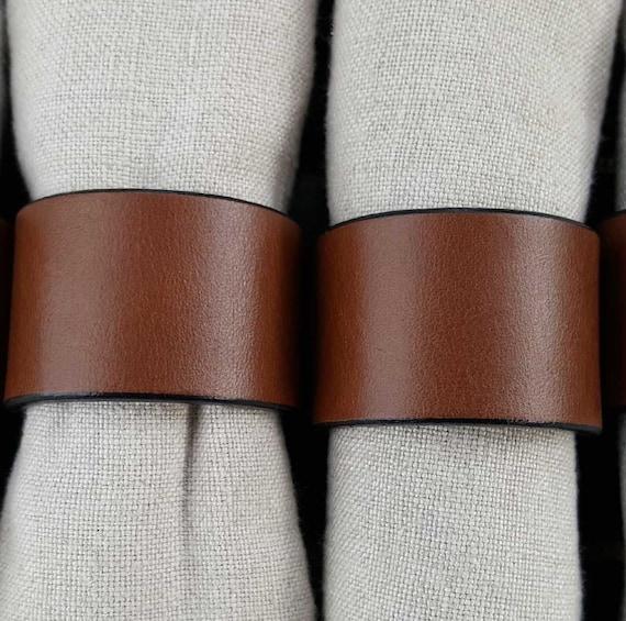 2 Leather Napkin Ring Brown/Black Trim, Orange, Chartreuse, Purple,  Dining ~ Housewarming ~ Hostess Gift ~ Home Decor ~ Kitchen Accessory